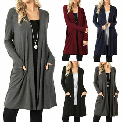 US Womens Long Sleeve Plus Size Cardigan Blouse Pockets Casual Long Jacket Tops