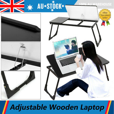 Foldable Wooden  Laptop Computer iPad Desk Adjustable Stand Table Bed Serve Tray