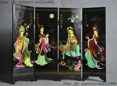 exquisite lacquerware Painting Carved Ancient China Four Beauties folding screen
