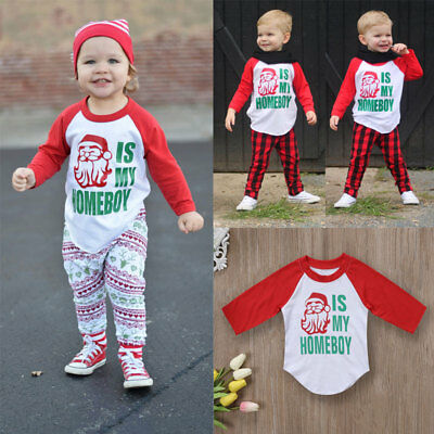 Toddler Kids Baby Girls Boys Xmas Santa Costume Clothes T-shirt Tops Outfits