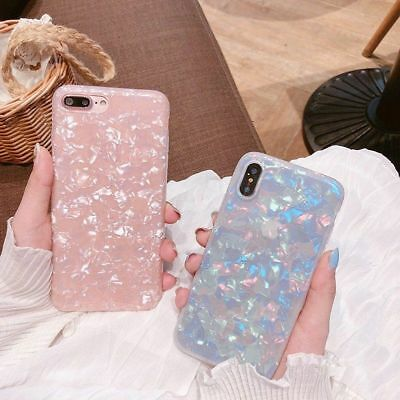 Glossy Marble Shockproof Silicone Soft Phone Case Cover For iPhone X 6/7/8+