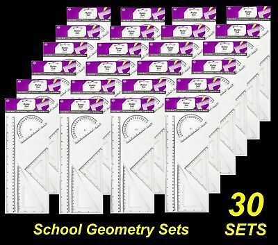 BULK 30 x 4Pc School Geometry Sets with 30cm Ruler, Protractor and Set Squares