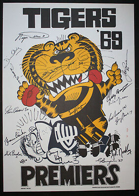1969 Richmond signed Weg Poster Limited Edition Premiers 16 signatures Tigers