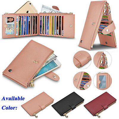 Genuine Leather Women Wallet With Credit Card Holder Zipper Purse RFID Blocking