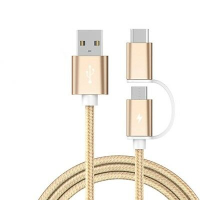 LAPU 2 in 1 Type-C & Micro USB Cable - Speed Data & Fast Charging Braided Cable