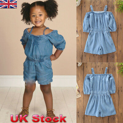 3ae685ac2941 UK Toddler Baby Kids Girls Denim Romper Bodysuit Jumpsuit Shorts Outfits  Clothes