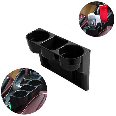 Universal Black Car 2 Cup Bottle Gap Holder Drink Beverage Seat Seam Cup Holder