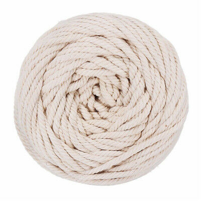 6mm 50m Macrame Rope Natural Beige Cotton Twisted Cord Artisan Hand Craft New BO