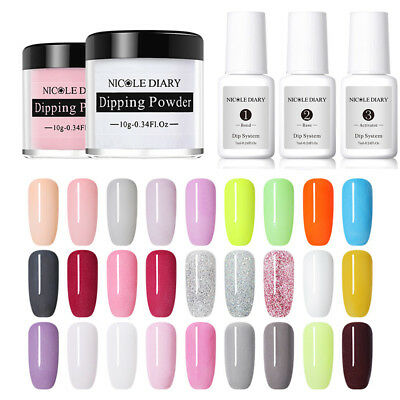 NICOLE DIARY Without Lamp Cure Dipping Dip Powder Violett Nagel Kunst Dekoration