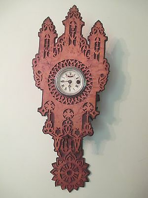 Antique GOTHIC wall clock BLACK FOREST - FRET WORK  bird's eye maple and exotic
