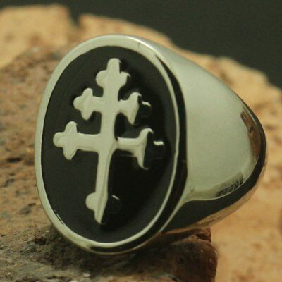Silver Enamel Cross of Lorraine Knight Templar Crusader Ring sizes 8-13
