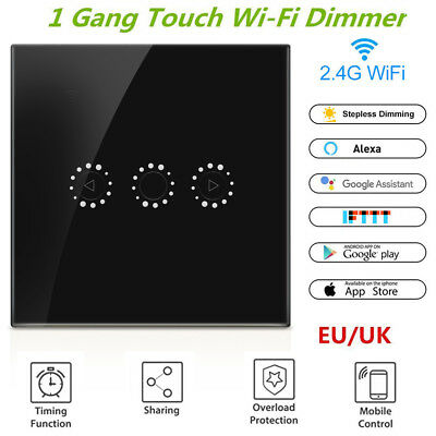 eWeLink WiFi Smart Touch Dimmer Switch UK Standard Wall Panel APP Light Control