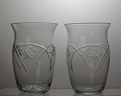 Vintage Cut Glass Crystal Whiskey Tumblers Set Of 2