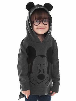Mickey Mouse Toddler Girls Pullover Hoodie Sweatshirt Gray