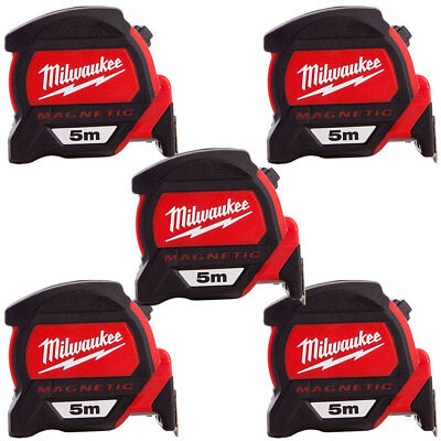 Milwaukee 4932459373 5m Premium Measuring Tape with Dual Magnetic Hook Pack Of 5