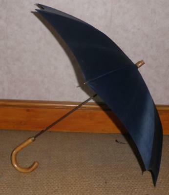 Vintage 9 Carat Rolled Gold - Navy Canopy Umbrella By T.Fox -69cm