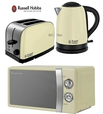 Microwave Kettle and Toaster Set Russell Hobbs Kettle & 2 Slot Toaster - Cream