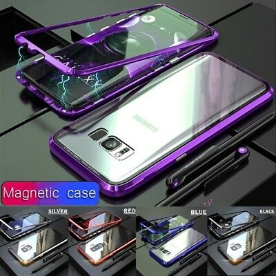 sale retailer cfdc5 75a56 MAGNETIC ABSORPTION METAL Tempered Glass Back Case For Samsung Galaxy S9 S8  Plus