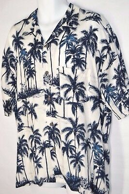 OCEAN CURRENT Hawaiian Shirt Mens Large Palm Trees Button Front Rayon