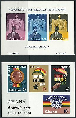 f258) Ghana. 1959/60. SG ms206a,ms248a. Abe Lincoln. Republic Day.