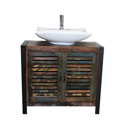 Reclaimed Wood Bathroom Unit 2 Door with Large White Ceramic Basin Choice