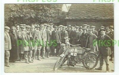 Old Postcard Early Motorcycle Rider & Crowd Real Photo Vintage C.1910
