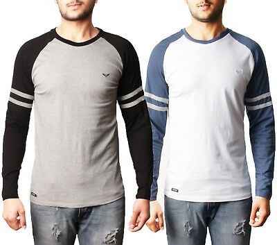 Mens Threadbare Long Sleeve Cotton Top T-shirt Raglan Crew Neck Casual MANHATTAN