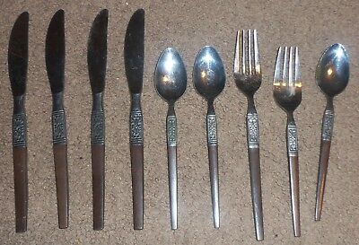 Interpur STAINLESS STEEL Faux WOOD Flatware 9 Knives ++ Japan mid-century modern