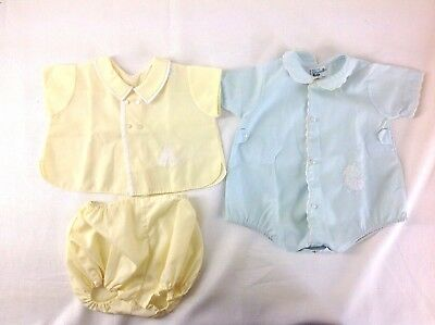 2 Vintage Baby Boy Outfits Blue Romper and Yellow 2 pc. set 3 months Feltman Bro