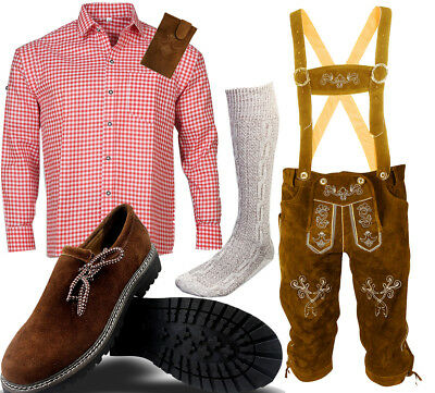 Men's Traditional Costume Set 6tlg with Leather Pants Bavarian Shirt Shoes Socks