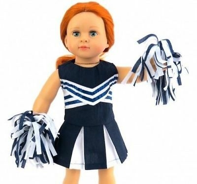 "Navy Blue CheerLeader Uniform w Pom Poms for American Girl Doll Clothes 18""  LB!"