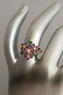 Violets in the Snow Ring 14k gold Franklin Mint House of Faberge VTG Size 5 1/2