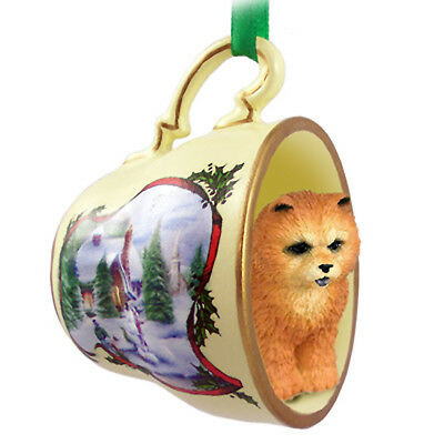 Chow Chow Christmas Ornament Teacup Red