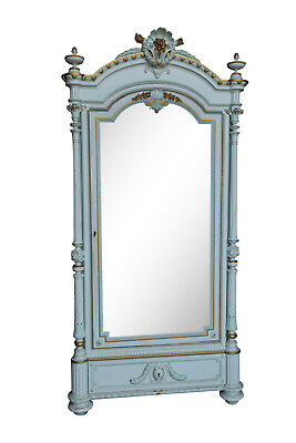 Lovely Painted French Armoire, Single Mirrored Door, 19th Century