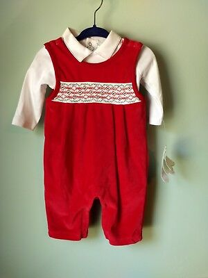 Kissy Kissy Premier White Red Christmas Holiday coveralls Sz 3-6 Months smock