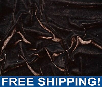 """Brown Stretch Velvet Fabric - 60"""" Wide - Style# 72410 - Free Shipping"""
