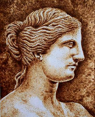 Original Drawing-Pyrography/woodburning On Watercolor Paper-Roman Goddess Venus