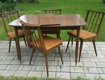 Mid Century Modern dining table and chairs Danish Parragon Furn. USA Vintage