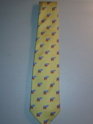 Republican Market Neck Tie Yellow 100 % Silk Elephants in  Red and Blue Rare
