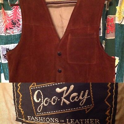 Mens Leather Suede vest  Vintage 1970s