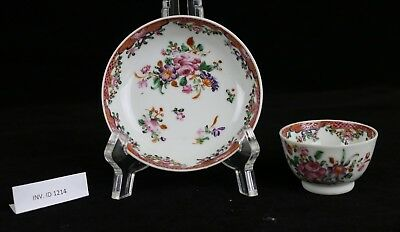 Antique Chinese 18th Century Qianlong Small Cup & Saucer ~ Famille Rose Flowers