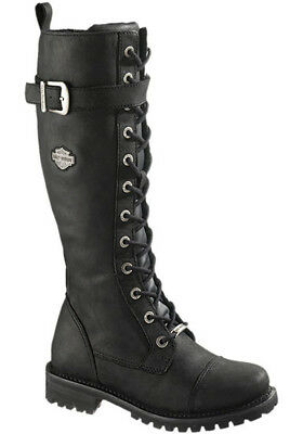 """Harley-Davidson Women's Savannah 14"""" Tall Lace Black Leather Riding Boots D81489"""