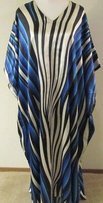 ASHRO Women's African Kaftan Caftan Gown Maxi Blue Black Long Dress Free Size