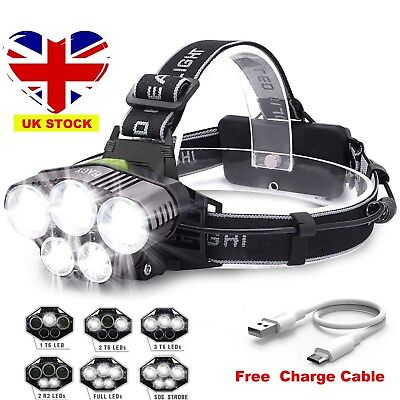 90000LM 5X T6 LED Headlamp Rechargeable Headlight Light Flashlight Head Torch UK