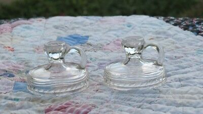 2 Matching Antique Pattern Clear Glass Finger Miniature Candle Stick Holder Toy