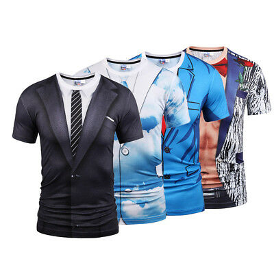 Mens Blouse Tuxedo Fake Suit 3D Print Short Sleeve T-Shirts Graphic Tee Tops
