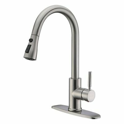 Stainless Steel Kitchen Sink Faucet Pull Down Spout Swivel Mixer Sprayer Brushed
