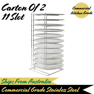Pizza Tray Rack Holder Bench Freestanding Holds 11 Pizza Trays Pan (Carton Of 2)
