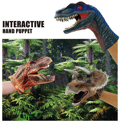 Simulated Rubber Soft Dinosaur Hand Puppet Dino Raptor Head Fun Toys Kids Gifts