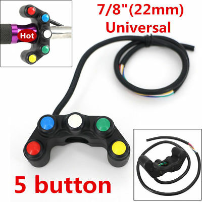 "1x Plastic Black Motorcycle Race Bike 7/8"" 22mm Handlebar Switch On Off 5 Button"